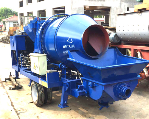 concrete pump and concrete mixer