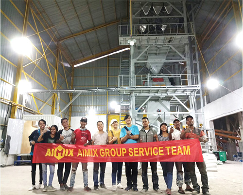 Aimix wall putty machine installed in Indonesia